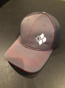 Angler Hub Hat - Red/Gray, Velcro, Heavy Mesh Back